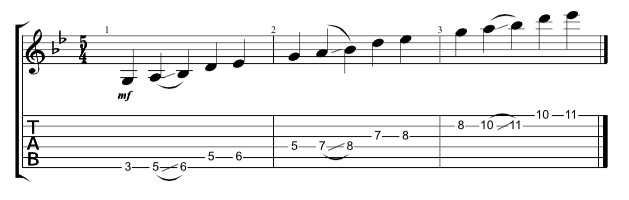 Guitar tab showing 3 note 2 note hirajoshi scales across all 6 strings