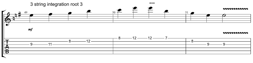 Guitar tab showing exercise on how to combine Hirajoshi scale with 3 string arpeggio with root on the 3rd string