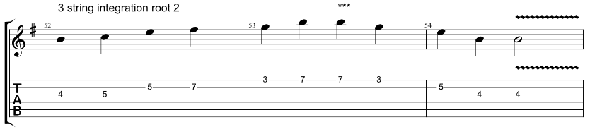 Guitar tab showing exercise on how to combine Hirajoshi scale with 3 string arpeggio with root on the 2nd string