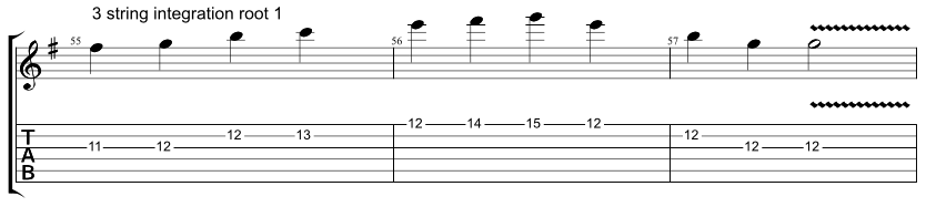 Guitar tab showing exercise on how to combine Hirajoshi scale with 3 string arpeggio with root on the 1st string