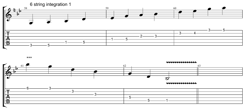 Guitar tab for integration exercise, combining 6 string hirajoshi scale with 5 string minor arpeggio