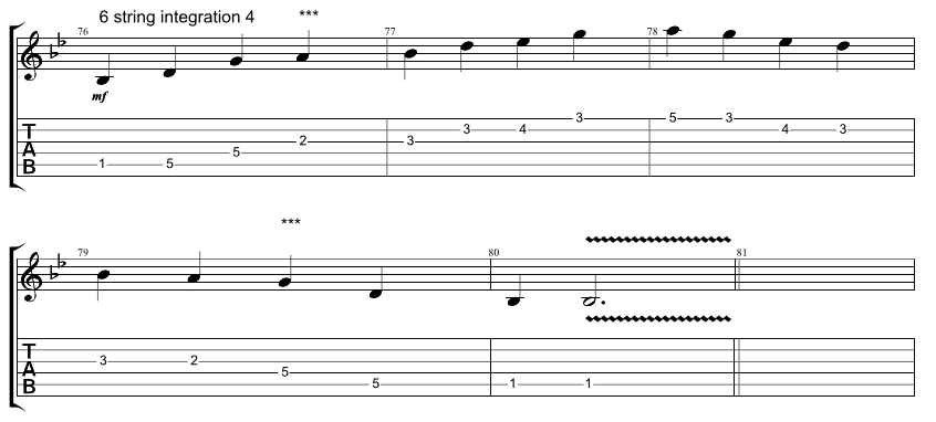 Guitar tab for integration exercise, combining 6 string hirajoshi scale with 5 string minor arpeggio, exercise 4