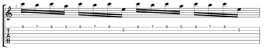 Tab for the next A minor pedal point lick on the top two strings.