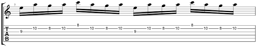 Tab for an A minor pedal point lick