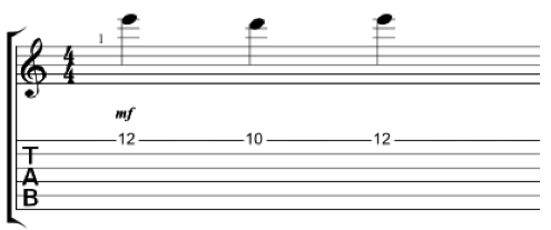 Diagram showing pedal point phrase on the high e string
